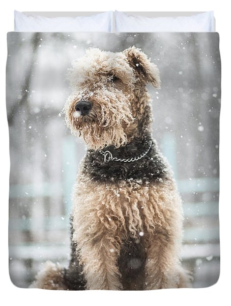 The Dog Under The Snowfall Duvet Cover