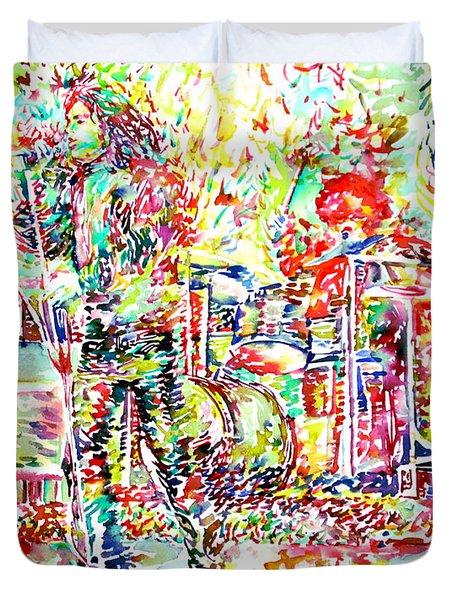 The Doors Live Concert Portrait Duvet Cover by Fabrizio Cassetta