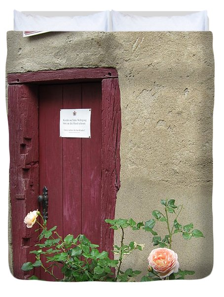 Duvet Cover featuring the photograph The Doorway by Pema Hou