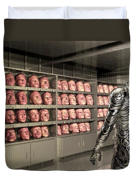 Duvet Cover featuring the digital art The Doppleganger by John Alexander