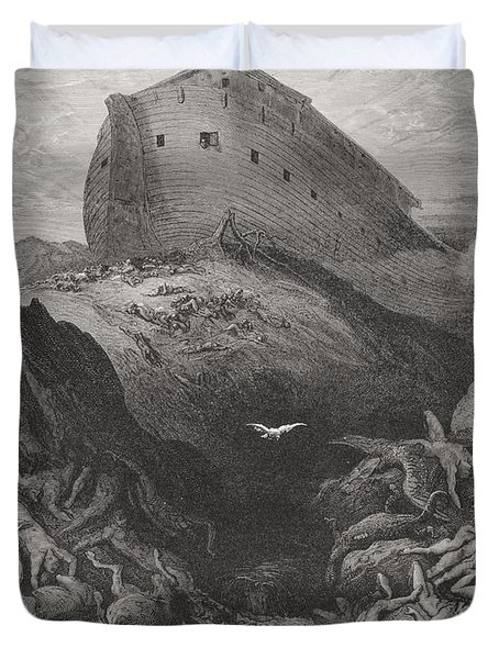 The Dove Sent Forth From The Ark Duvet Cover by Gustave Dore