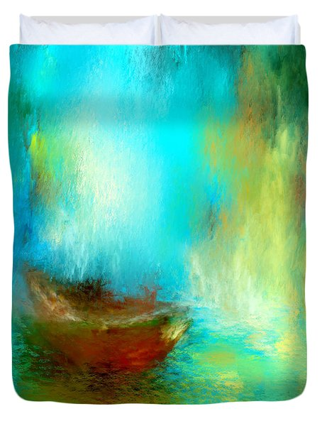 Duvet Cover featuring the digital art The Drifter by Patricia Lintner
