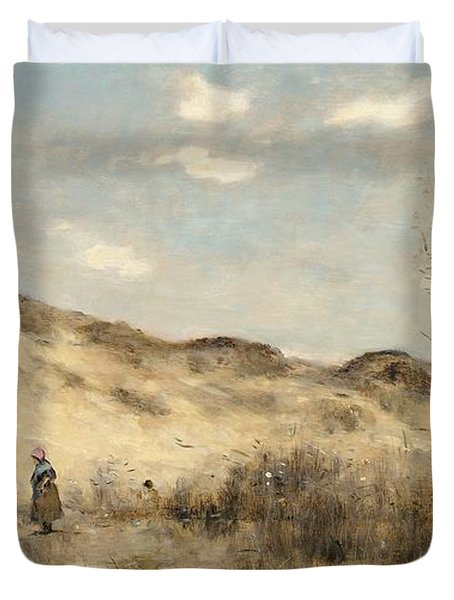The Dunes Of Dunkirk Duvet Cover by Jean Baptiste Camille Corot
