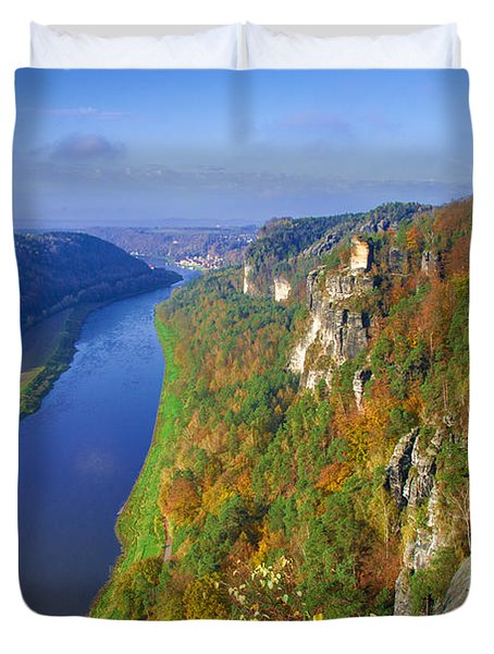 The Elbe Sandstone Mountains Along The Elbe River Duvet Cover