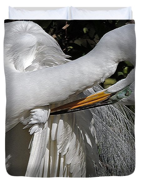 The Elegant Egret Duvet Cover by Lydia Holly