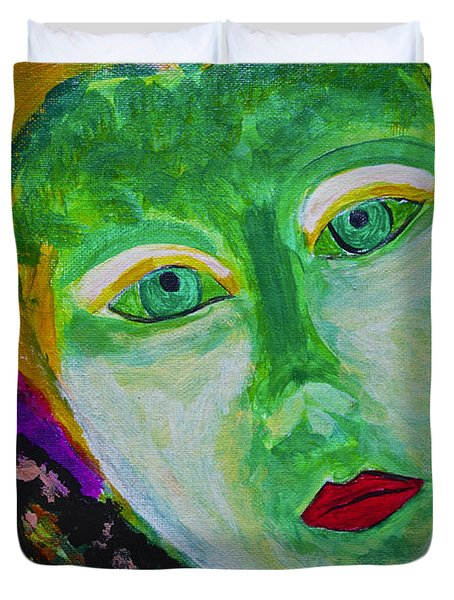 Duvet Cover featuring the painting The Emerald Lady by Joan Reese
