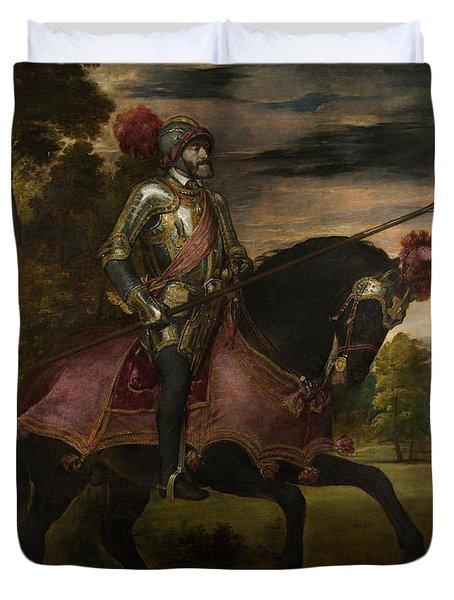 The Emperor Charles V 1500-58 On Horseback In Muhlberg, 1548 Oil On Canvas Duvet Cover