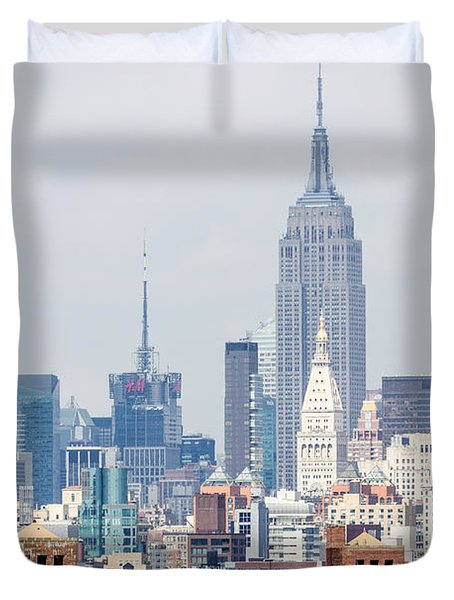 The Empire State Building From The Brooklyn Bridge Duvet Cover