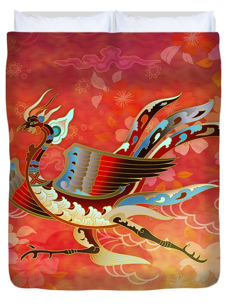The Empress - Flight Of Phoenix - Red Version Duvet Cover by Bedros Awak