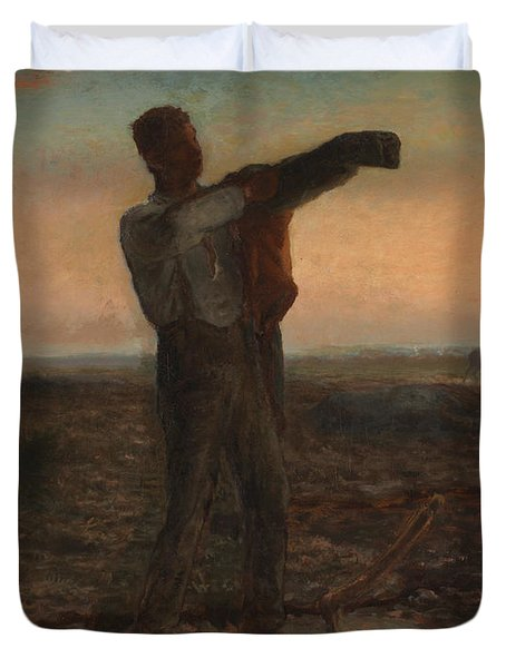 The End Of The Day Effect Of Evening  Duvet Cover by Jean-Francois Millet