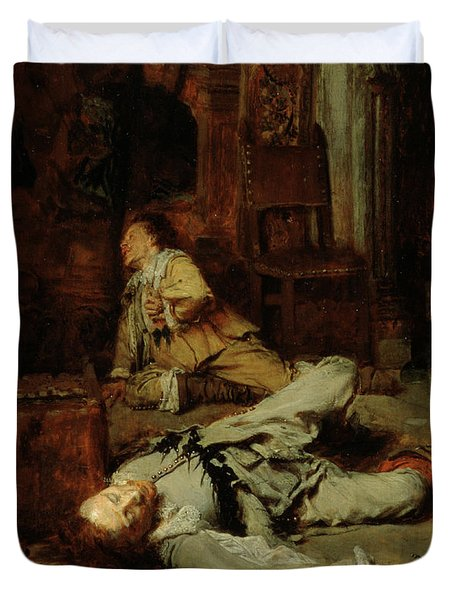 The End Of The Game Of Cards Duvet Cover by Jean Louis Ernest Meissonier