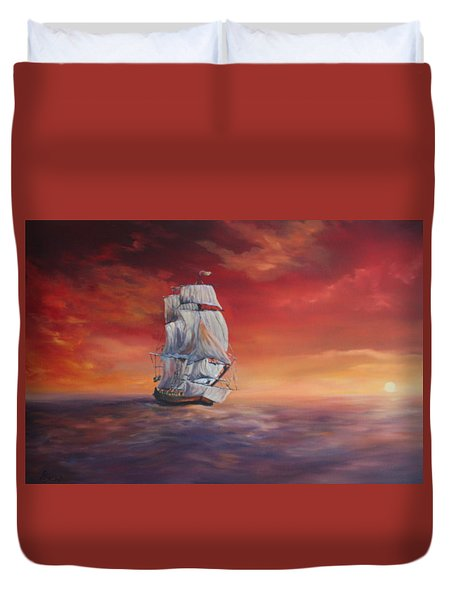 The Endeavour On Calm Seas Duvet Cover by Jean Walker