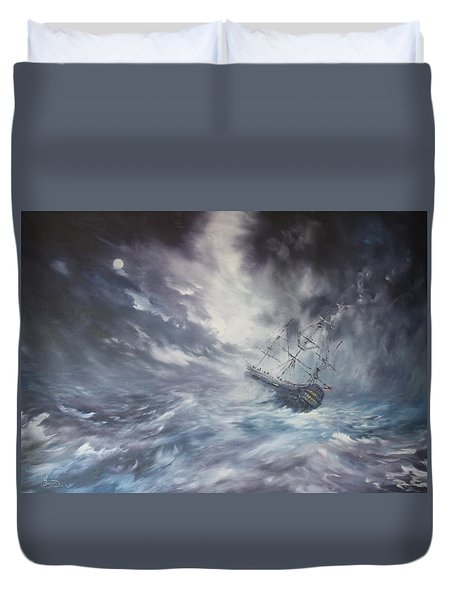 The Endeavour On Stormy Seas Duvet Cover