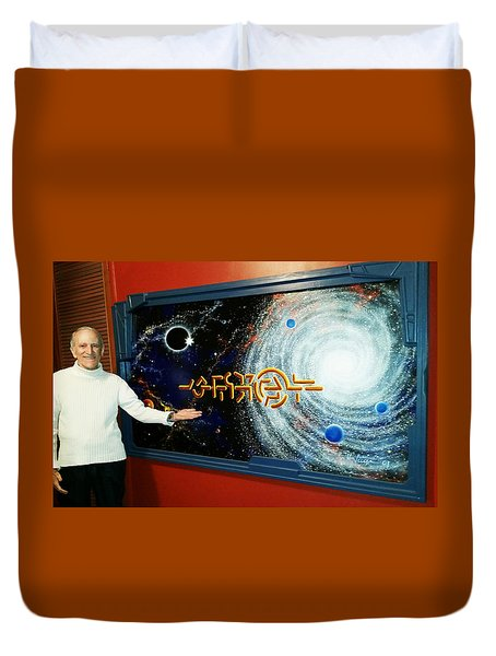 Duvet Cover featuring the painting The  Enigma  Painting by Hartmut Jager