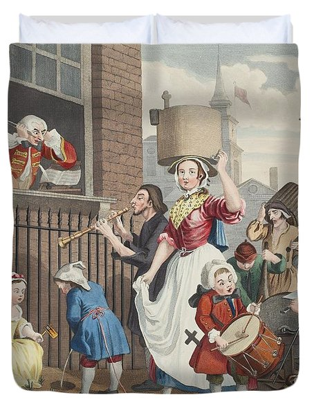 The Enraged Musician, Illustration Duvet Cover by William Hogarth