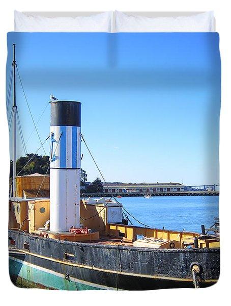 The Eppleton Hall Paddlewheel Tugboat - 1914 Duvet Cover by Daniel Hagerman