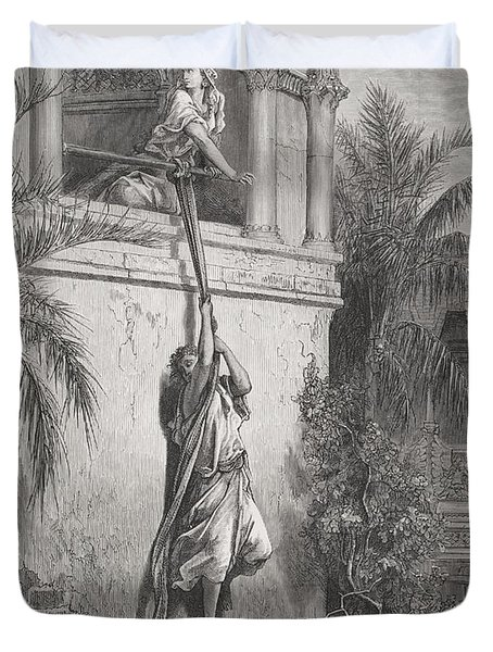 The Escape Of David Through The Window Duvet Cover by Gustave Dore