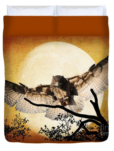 Duvet Cover featuring the photograph The Eurasian Eagle Owl And The Moon by Kathy Baccari