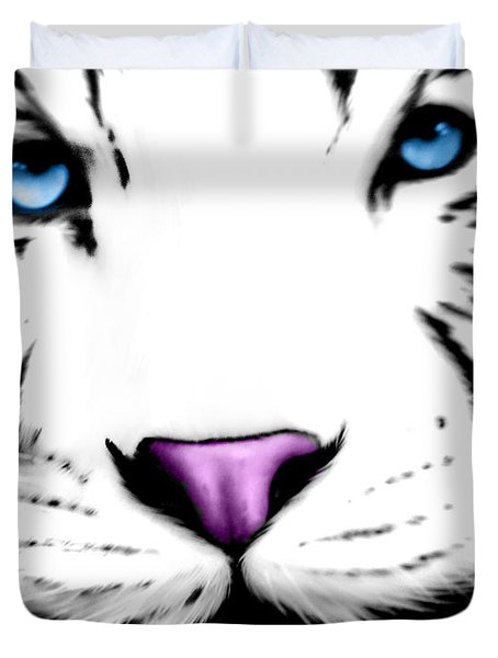 The Eye Of The White Tiger Duvet Cover by Gina Dsgn