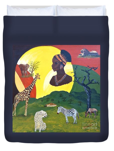 The Faces Of Africa Duvet Cover