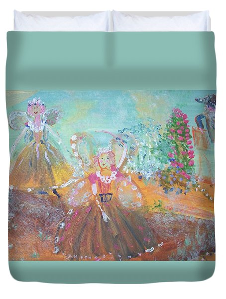 Duvet Cover featuring the painting The Fairies And The Artist by Judith Desrosiers