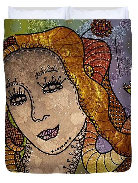 Duvet Cover featuring the digital art The Fairy Godmother by Barbara Orenya