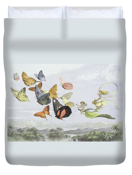 The Fairy Queen's Carriage Duvet Cover by Richard Doyle