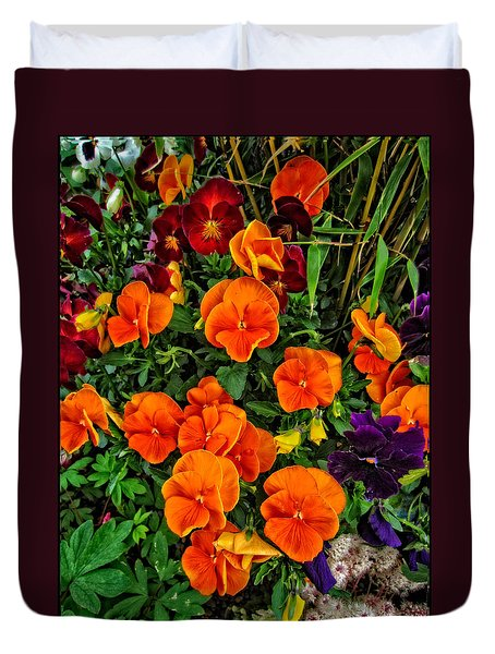 The Fall Pansies Duvet Cover