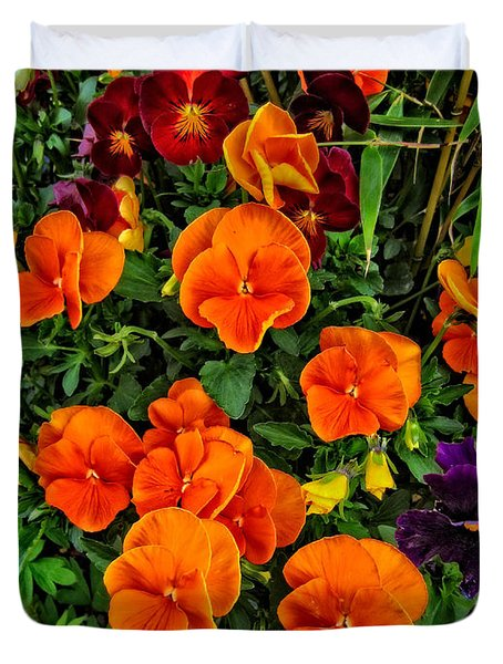Duvet Cover featuring the photograph Fall Pansies by Thom Zehrfeld