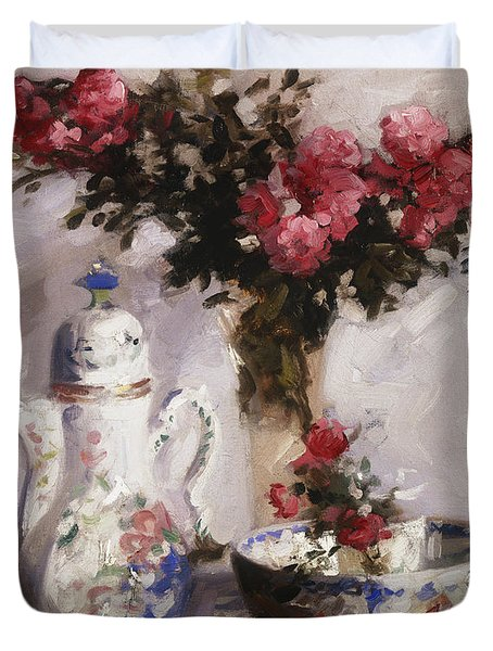 The Famille Rose Coffee Pot Duvet Cover by Francis Campbell Boileau Cadell