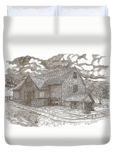 The Family Farm - Sepia Ink Duvet Cover by Carol Wisniewski