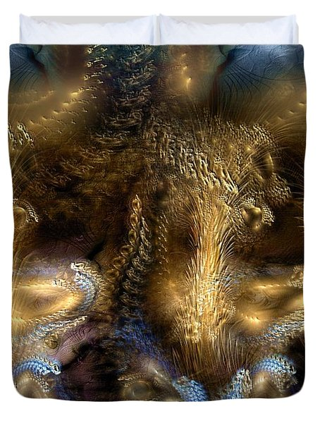 Duvet Cover featuring the digital art The Far Country by Casey Kotas