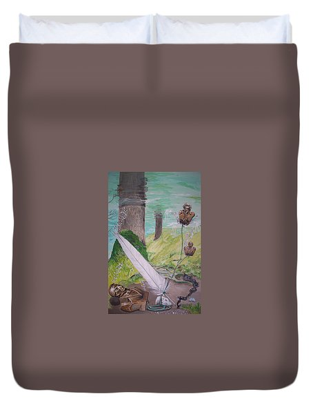 Duvet Cover featuring the painting The Feather And The Word La Pluma Y La Palabra by Lazaro Hurtado