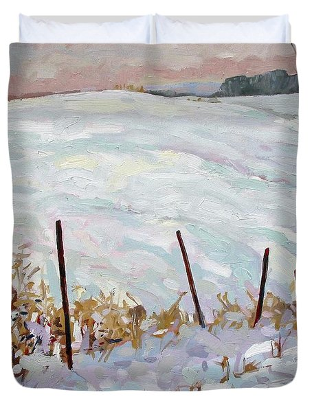 The Fence Line Duvet Cover by Phil Chadwick