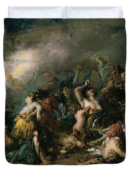 The Final Day Of Sagunto In 219bc, 1869 Oil On Canvas Duvet Cover