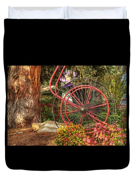 Duvet Cover featuring the photograph The Fire Hose Reel by Thom Zehrfeld