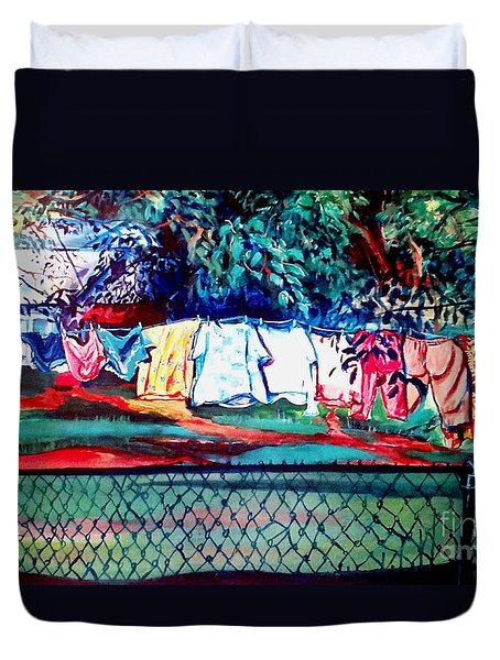 Duvet Cover featuring the painting The First Clothing Line  by Ecinja