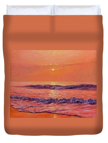 The First Day-sunrise On The Beach Duvet Cover