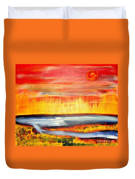 The First Handcart Is Faith Duvet Cover by Richard W Linford