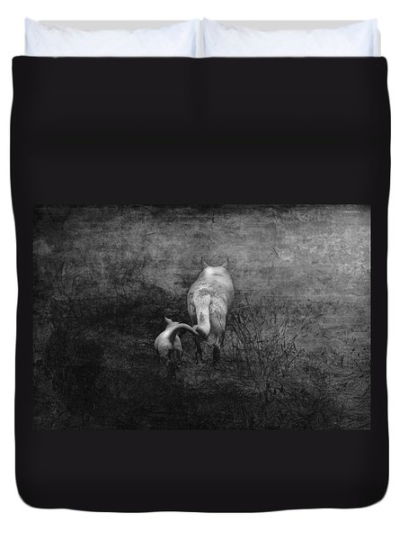 The First Hunt Duvet Cover by Ron Jones