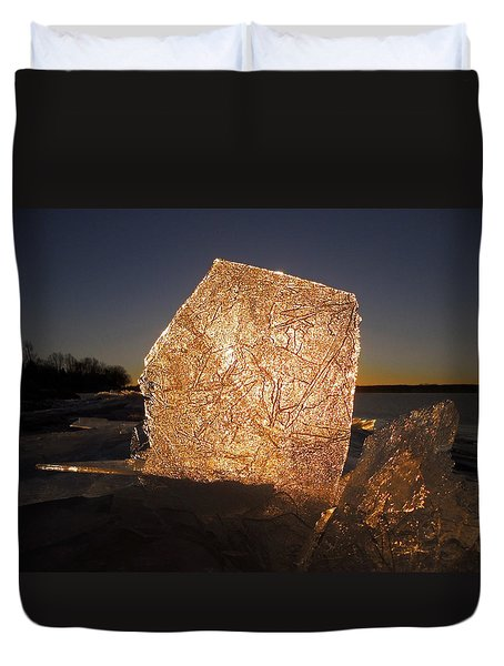Duvet Cover featuring the photograph The First Ice ... by Juergen Weiss
