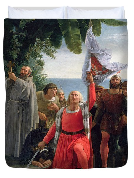 The First Landing Of Christopher Columbus In America Duvet Cover by  Dioscoro Teofilo Puebla Tolin