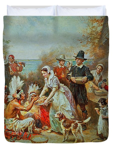 The First Thanksgiving Duvet Cover by Jean Leon Gerome Ferris