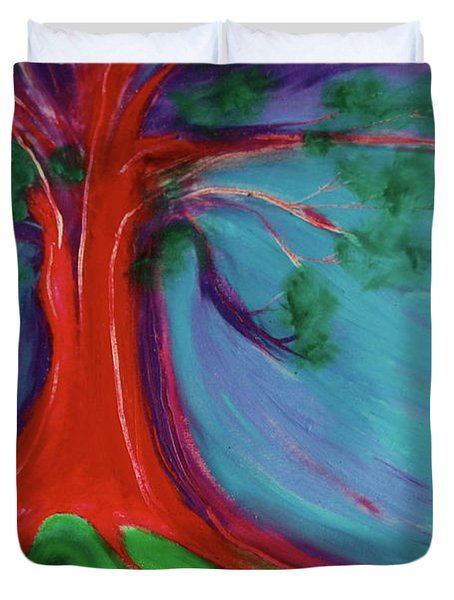 Duvet Cover featuring the painting The First Tree By Jrr by First Star Art