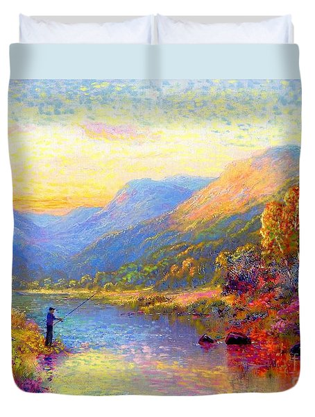 Duvet Cover featuring the painting Fishing And Dreaming by Jane Small