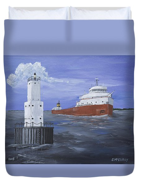 The Fitz Departs Escanaba Duvet Cover