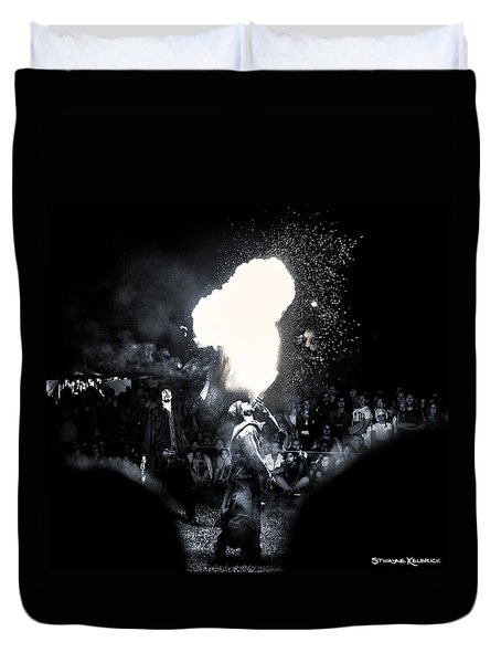 Duvet Cover featuring the photograph The Flare Thrower by Stwayne Keubrick