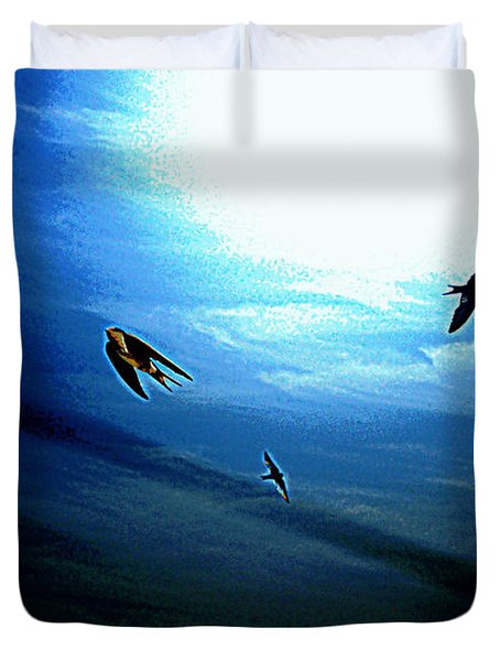 Duvet Cover featuring the photograph The Flight by Miroslava Jurcik