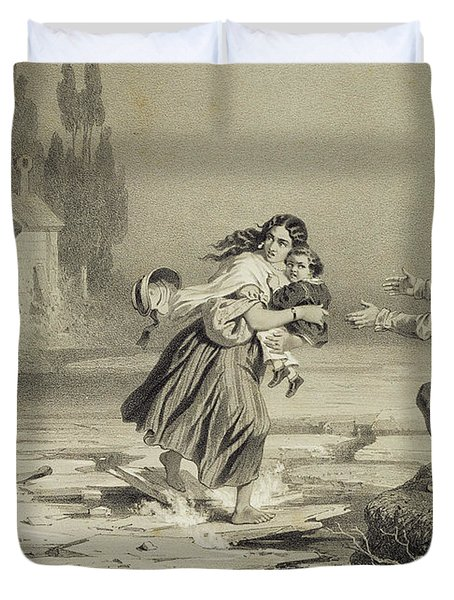The Flight Of Eliza, Plate 3 From Uncle Duvet Cover by Adolphe Jean-Baptiste Bayot