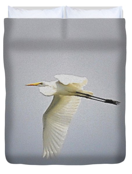 The Flight Of The Great Egret With The Stained Glass Look Duvet Cover